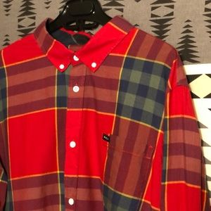 RVCA plaid button up shirt men's Large